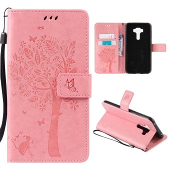 Magnetic Closure and Lanyard Leather Flip Stand Cover For AsusZenFone Selfie ZD552KL (Pink) - intl