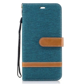 Magnetic Flip Canvas PU Leather Luxury Wallet Case for Huawei P10Plus Phone Cover Coque (Navy Blue) - intl - 2