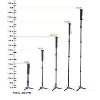 Manbily A-222 +M-1 Walking Stick Base Tripod 1650mm AlumninumCamera Unipod Monopod Flip Lock w/3 Legs Base Tripod For DSLR DV -intl - 2
