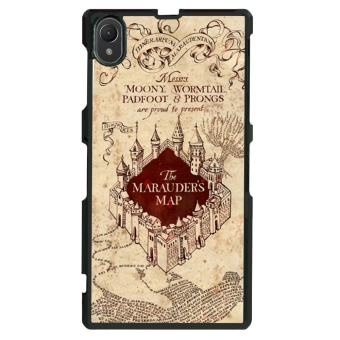 Marauders Map Pattern Phone Case for Sony Xperia Z1 L39h (Brown)