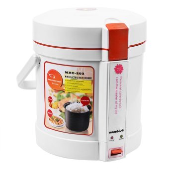 Marubishi MRC-203 0.6L Mini Electric Manual Rice Cooker (White/Orange)