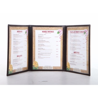 (MB008) Tri-fold Menu Jacket,Menu Holder 3 Pages with 6 views withcorner metal clip - 3