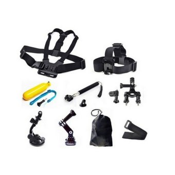 MCE Camera Accessories 9 in 1 Kit head + Chest Strap + Floating + Handlebar Grip Spike + Monopod for outerdoor + Suction Cup (Black) (Intl)