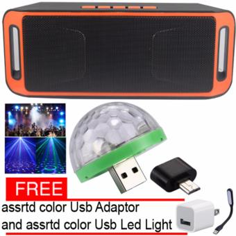 Megabass SC208 A2DP Bluetooth Wireless Stereo Speaker (Orange) LEDSmall Magic Ball Disco Party USB Colorful Neon Lights 4W with FreeAssorted USB adaptor /USb Led light