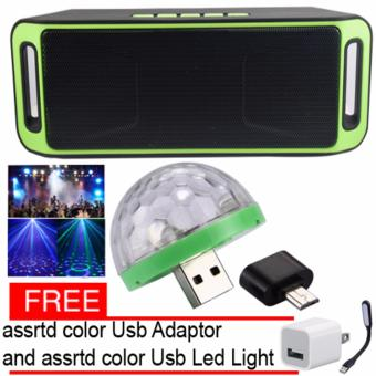 Megabass SC208 A2DP Bluetooth Wireless Stereo Speaker(yellow-green) and Led Disco Party Light with free assrtd color UsbAdaptor and Usb Led Light