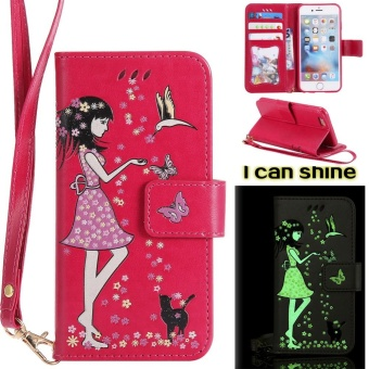 Meishengkai Case For Iphone 6 Luminous Girl Pattern Flip PU Leather Case Cover With Wallet Card