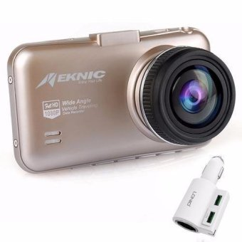 Meknic M5 Car Cam Recorder 1080P Full HD (Gold) with LDNIO CM10 2 USB Port 5V / 4.2A Built-in Lighter Car Charger
