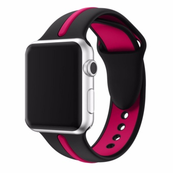 Men Women's Sport Silicone band strap for apple watch Series 2 1bracelet Replacement wrist band watch watchband For iwatch 38mm(Black Rose) - intl ...