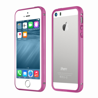 Metal Bumper Case w/ Clear Cover for Apple iPhone SE / 5S / 5 (HotPink)