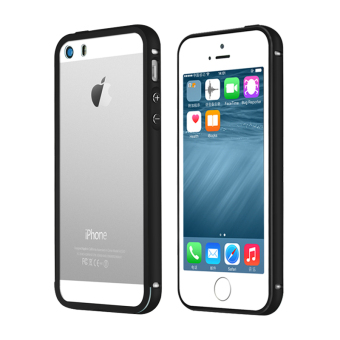 Metal Bumper Case w/ Clear Cover for Apple iPhone SE / 5S / 5(Black)