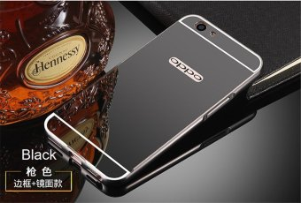 Metal Bumper Mirror Back Cover Case For Oppo F1s (Black) - intl