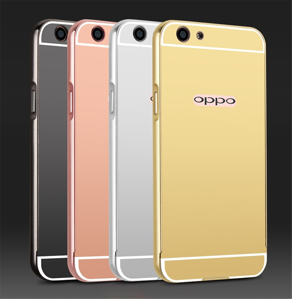 Metal Bumper Mirror Back Cover Case For Oppo F1s (Silver) - intl .