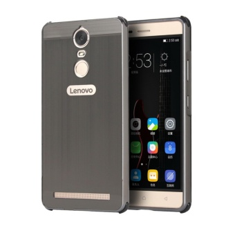 Metal Bumper Wire Drawing Back Cover Case For Lenovo K6 Note (Black) - intl