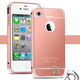 Metal Bumper+Acrylic Cover Mirror Case For Apple iPhone 4 / 4s Phone Shell Skin [Rose Gold] - intl