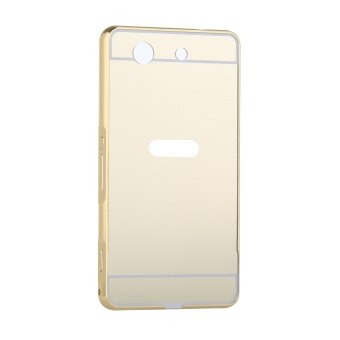 Metal Frame Bumper Case Mirror Effect Hard PC Back Cover for SonyXperia Z1 Compact / Z1 Mini (Gold) - 2