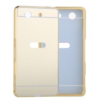 Metal Frame Bumper Case Mirror Effect Hard PC Back Cover for SonyXperia Z1 Compact / Z1 Mini (Gold)
