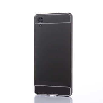 Metal Frame Bumper + Mirror Effect PC Cover For Sony Xperia X(Black) - intl