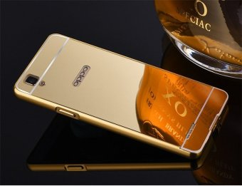 Metal Frame Mirror Back Cover Case For Oppo F1 (Gold) - intl