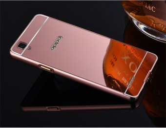 Metal Frame Mirror Back Cover Case For Oppo F1 (Rose Gold) - intl