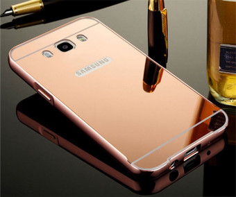 Metal Frame Mirror Back Cover Case For Samsung Galaxy J7 2016 (Rose Gold) - intl