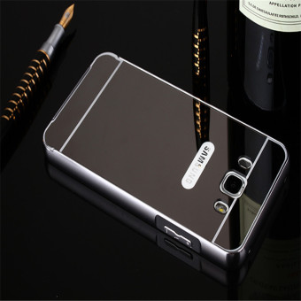 Metal Frame Mirror Back Cover Case For Samsung Galaxy J7 2016(Black) - intl - 2