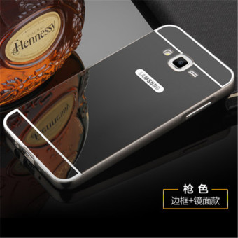Metal Frame Mirror Back Cover Case For Samsung Galaxy J7 2016(Black) - intl
