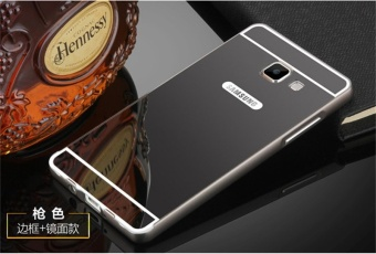 Metal Frame Mirror Back Cover Protection Case For Sam sung Galaxy J7 Prime / On7 2016 (Black) - intl