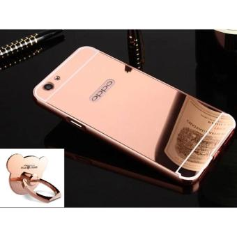 Metal frame mirror drop case cover for OPPO F1s/A59(rose gold)+ Metal ring - intl