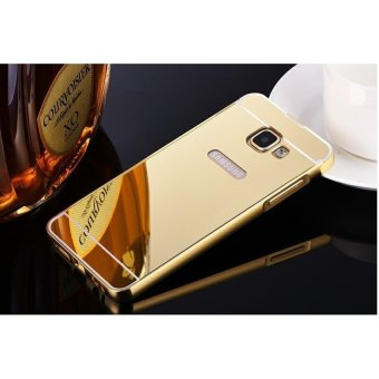 Metal frame mirror drop case cover for Samsung Galaxy A9 Pro (Gold)- intl