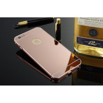 Metal mirror border Back Case Cover For Apple iPhone 6 Plus / 6s Plus (rose gold) - intl