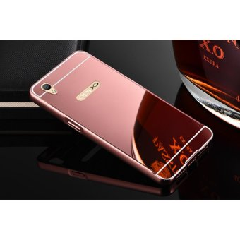 Metal mirror border Back Case Cover For Oppo A37 (rose gold) - intl