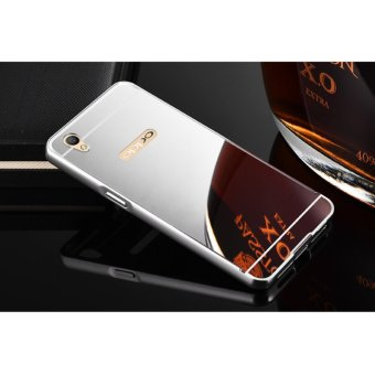 Metal mirror border Back Case Cover For Oppo A37 (silver) - intl