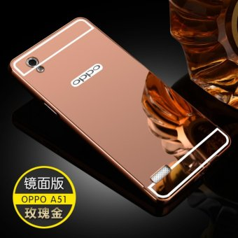 Metal mirror border Back Case Cover For OPPO A51T (rose gold) -intl