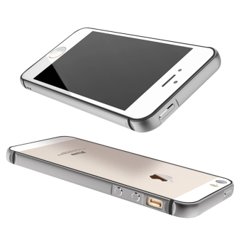 Metal + Silicone Hybrid Bumper Case for Apple iPhone 5 / 5S / SE (Grey)