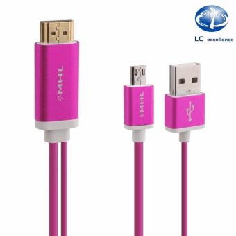 MHL-360 11 Pin Micro USB MHL 2.0 To HDMI TV AV HDTV Vedio CableAdapter For SAMSUNG Galaxy S3/4/5/Note2/3(Pink)