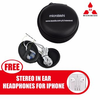 Microbishi New Pocket Hard Case Storage Bag For Earphone HeadphoneEarbuds SD TF Card (Black) with free Model Stereo In-Ear Headphonefor Apple iPhone/All Smartphone (Color May Vary)