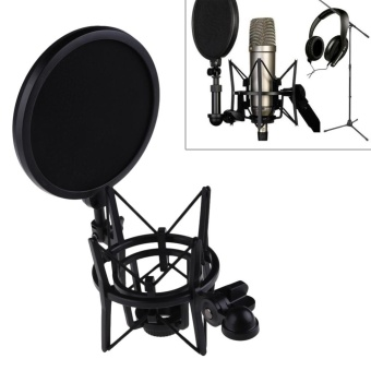 Microphone Mic Professional Shock Mount with Pop Shield FilterScreen - intl