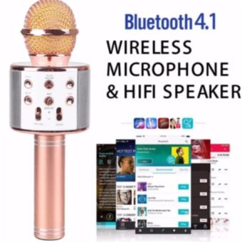 Microphone Wireless KTV Karaoke Bluetooth Handheld Mic HIFI Speaker WS858 (pink)