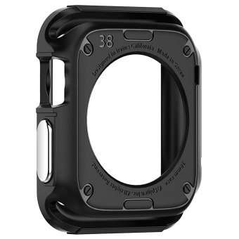 Miimall Rugged Shock Resist Protection Armor Soft Silicone RubberCase for Apple Watch 38mm (Black) - 2