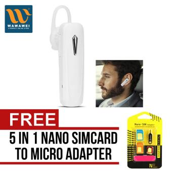 Mini Bluetooth Earphone Headset In Ear Headphones M163 FashionDesign with Mic (White) with free Nano SIM Adapter Nano to MicroSIM Micro SIM to Standard SIM Card Adapter 5 IN 1 Tools Kit