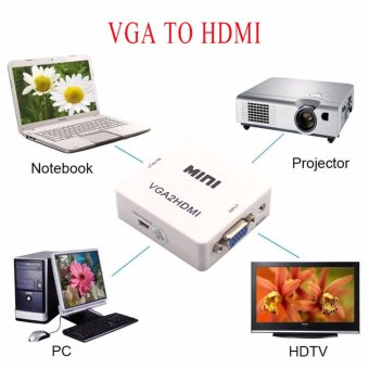 Mini Compact VGA to HDMI 1080P Converter Video Box Adapter - intl