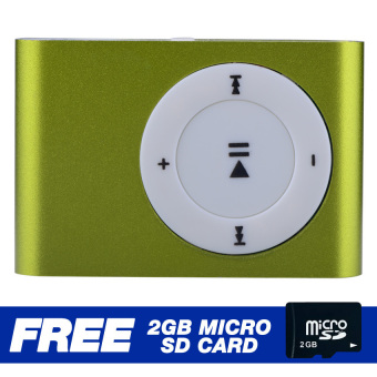 Mini Metal Clip MP3 Player(Green) with FREE 2GB Micro SD Card