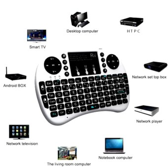 Mini USB Wireless Keyboard Touchpad Air Mouse Fly Mouse Remote Control for Android Windows TV Box PC Pad Cellphone White - 3