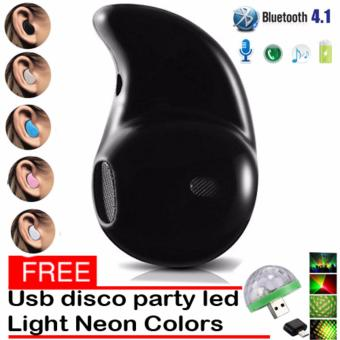 Mini Wireless Bluetooth Earphone (Black) S530 V4.0 Music SportHeadphone Phone Headset Ear Hook with free Usb Christmas Led DiscoParty Light