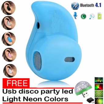 Mini Wireless Bluetooth Earphone (Blue) S530 V4.0 Music SportHeadphone Phone Headset Ear Hook with free Usb Christmas Led DiscoParty Light