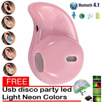 Mini Wireless Bluetooth Earphone (Pink) S530 V4.0 Music SportHeadphone Phone Headset Ear Hook with free Usb Christmas Led DiscoParty Light