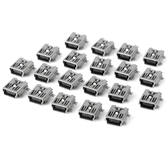 MiniCar DIY 5Pin USB FB Type SMT Plug Adapter DC 30V 1.5A / 20PCSSilver(Color:Silver)(Intl) - intl
