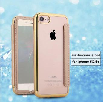 Mirror Electroplating Leather Case For Apple iphone 5g / 5s