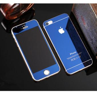 Mirror Style Front and Back Tempered Glass for iPhone 5 / 5S (Blue)