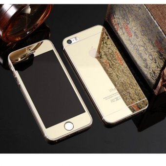 Mirror Style Front and Back Tempered Glass for iPhone 5 / 5S (Gold)